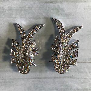Art Deco Bird Clip on Earrings